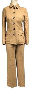 Burberry Burberry Brown Wool Blend Button Up Top And Bootcut Pant Suit Sma7085