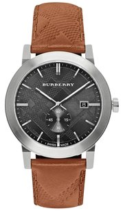 Burberry Burberry Check Stamped Leather Strap Watch