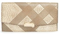 Burberry Burberry Porter Metallic Embossed Continental Wallet Gold Check Clutch