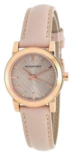 Burberry Burberry The City Women Watch Rose Gold Tone Taupe Check Dial Tan