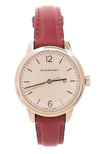 Burberry Burberry Red Leather Gold-tone Steel 32mm Womens Watch
