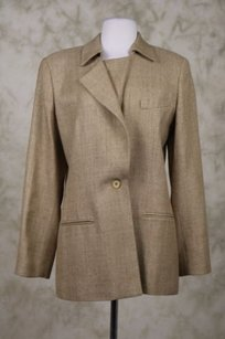 Burberry Burberrys Womens Beige Tan Blazer Silk Career Jacket