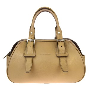 Burberry Check Hand Leather Satchel in Beige