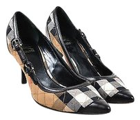 Burberry Black Tan White Multi-Color Pumps
