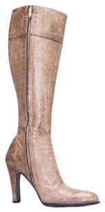 Burberry Womens Light Distressed Leather High Heel Brown Boots