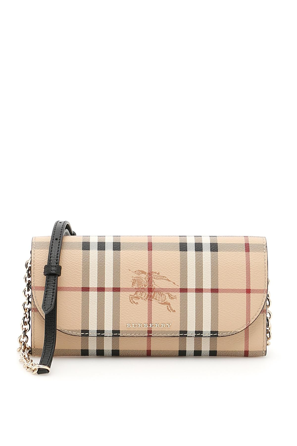 Clearance Professional Tartan Cotton and Leather Wallet with Chain - Green Burberry Buy Cheap Pre Order Genuine Cheap Price Clearance Very Cheap ohXLUA