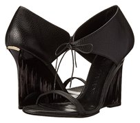 Burberry Italy Wedge Leather Black Wedges