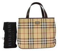 Burberry Leather Tote in Black and beige