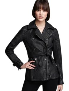 Burberry Leather Trench Punk Trench Coat