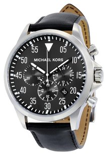 Burberry MICHAEL KORS Gage Black Dial Black Leather Men's Watch
