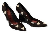 Burberry New Pony Hair Wedge Pumps Dark Brown & White Wedges