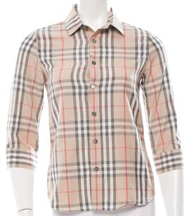 Burberry Nova Check Longsleeve Monogram Cotton Plaid Top Beige, Black