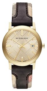 Burberry NWT Authentic Burberry The City Gold-tone Leather Watch BU9032