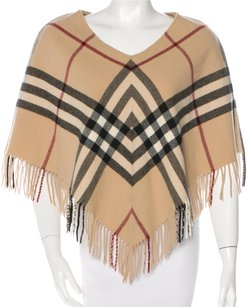 Burberry Plaid Nova Check Exploded Check V-neck Fringe Hem Cape
