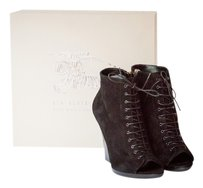 Burberry Suede Italian Italy Laceup Black Boots