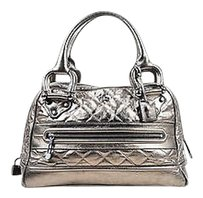 Burberry Metallic Pewter Leather Quilted Zip Crossbody Westbury Satchel in Silver