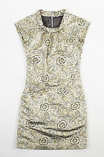Burberry Gray Black Gold Floral Design Metallic Cap Sleeve Dress