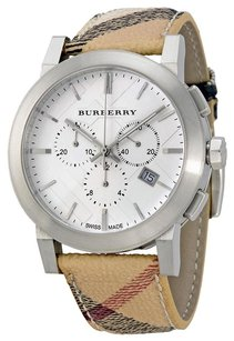Burberry The City Silver Dial Haymarket Check Fabric Unisex Watch BU9360