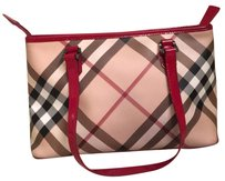 Burberry Tote in black tan plaid raspberry patent leather