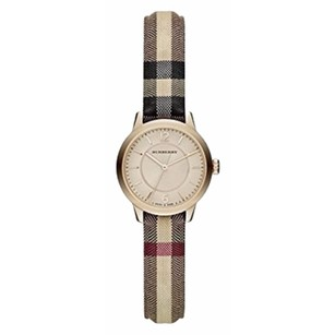 Burberry Women's Swiss Honey Check Fabric Strap Watch 26mm BU10201