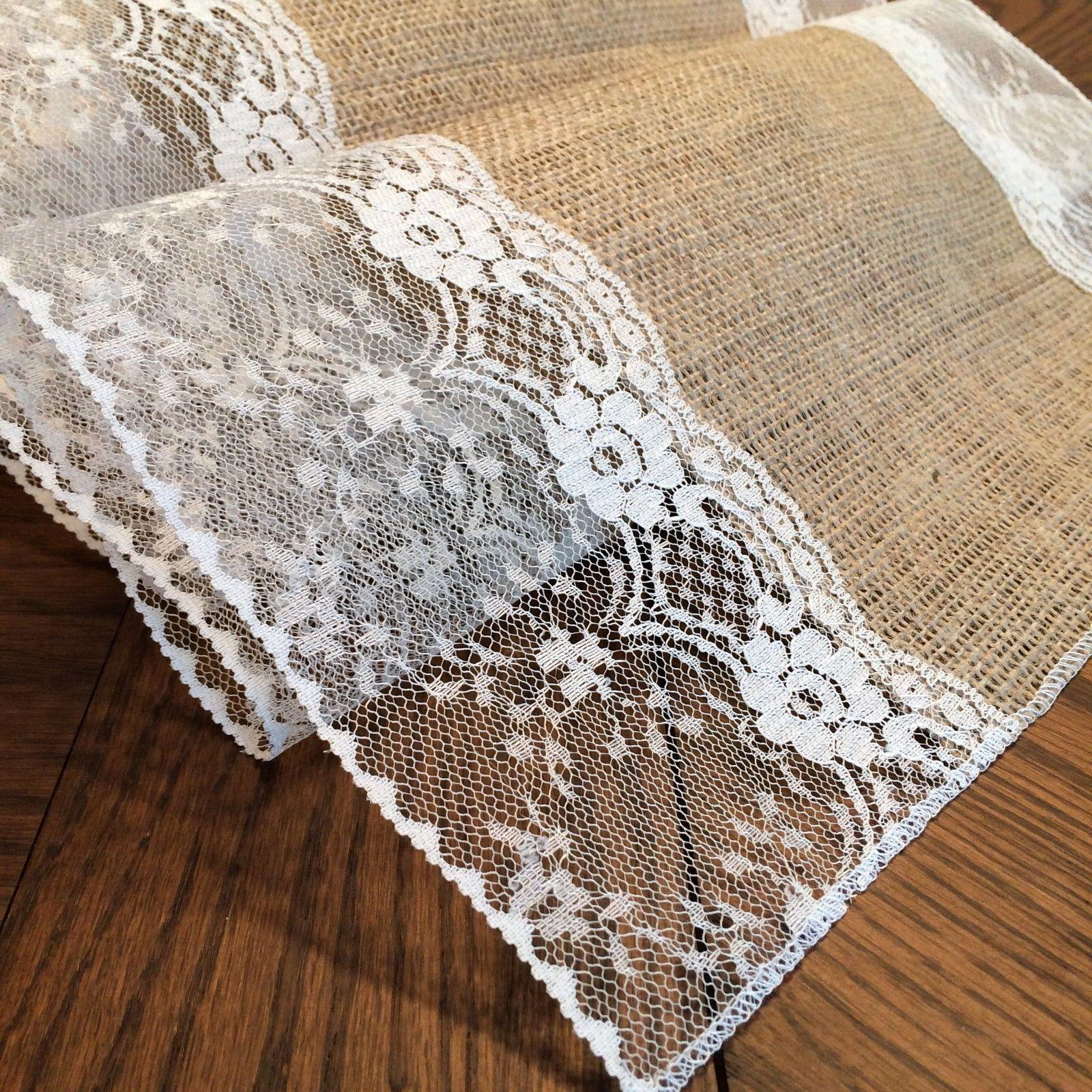Charmant Burlap U0026 Ivory Lace 12 Decor Shabby Chic Table Runners 9ft Other ...