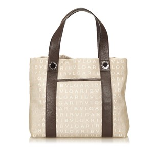BVLGARI Beige Brown Fabric Tote