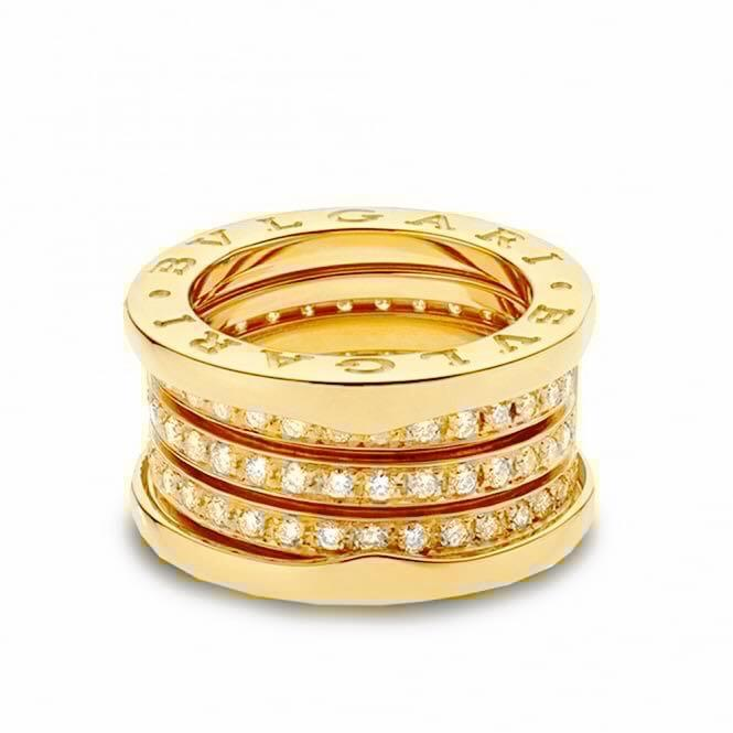 bvlgari bulgari 18k yellow gold b zero1 four band pave diamond ring eu 51