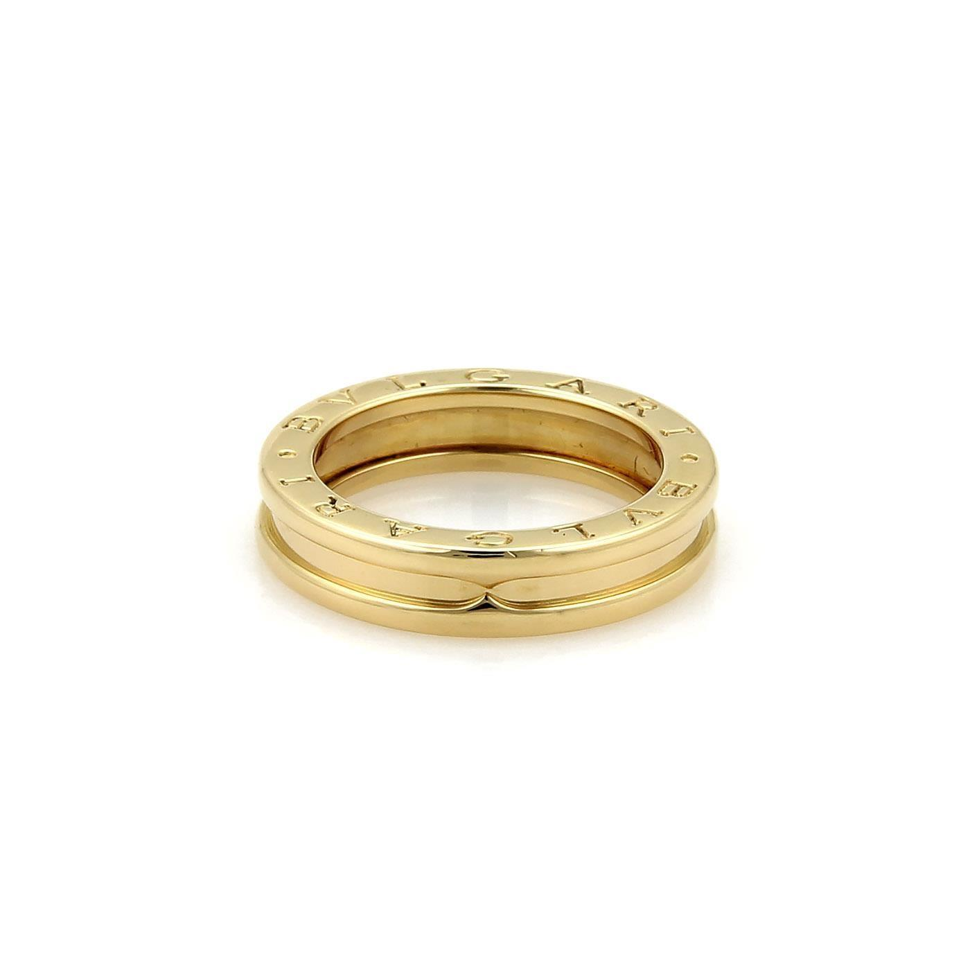 bvlgari bulgari b zero1 18k yellow gold 5mm band ring size eu 54