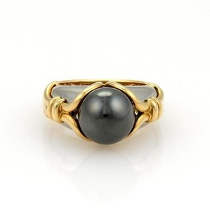 BVLGARI Bulgari Bvlgari 18k Yellow Gold Stainless Steel Hematite Ring