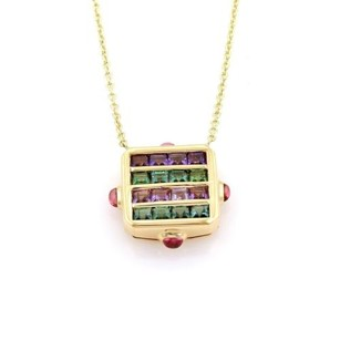 BVLGARI Bulgari Bvlgari 3.60ct Tourmaline Amethys 18k Yellow Gold Necklace
