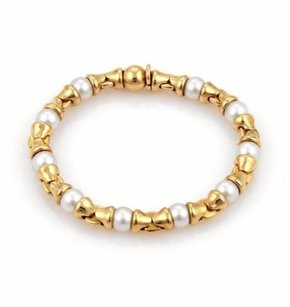 BVLGARI Bulgari Bvlgari Akoya Pearls 18k Yellow Gold Fancy Link Bracelet