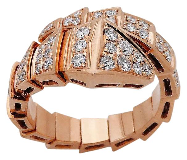 bvlgari bvlgari bulgari 18k rose gold serpenti full pave diamond ring size 7