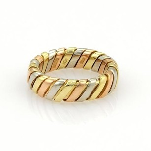 BVLGARI Bvlgari Bulgari 18k Tri Color Gold Tubogas 5.5mm Band Ring-