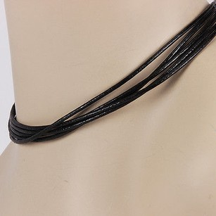 BVLGARI Bvlgari Bulgari 18k White Gold Multi Strand Black Cord Designer Necklace 15.5