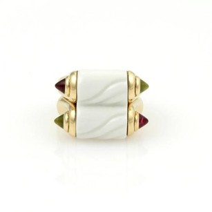 BVLGARI Bvlgari Bulgari 18k Yellow Gold Ceramic 1.20ct Tourmaline Double Band Ring Wbox