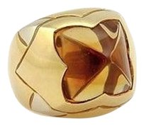 BVLGARI Bvlgari Bulgari 18k Yellow Gold Citrine Solitaire Designer Ring -