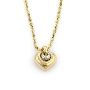 BVLGARI Bulgari Bvlgari 18k Two Tone Gold Heart Pendant Rope Chain Necklace