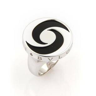 BVLGARI Bvlgari Onyx Spinning Optical 18k Gold Stainless Steel Ring-