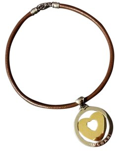 BVLGARI mint authentic unisex necklace leather cord and large heart shape pedant