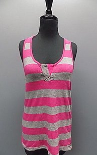 C&C California C Striped Racer Back Polyester Blend 191a Top Gray And Pink