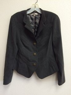 CAbi Cabi Blazer Charcoal Gray Womens Lined Jacket Metal Crest Buttons