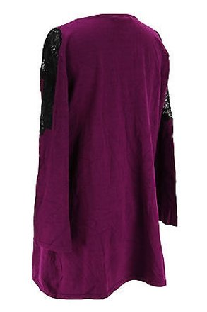 Cable & Gauge Cable Gauge Womens Blouse Purple Cotton Blend - lovely