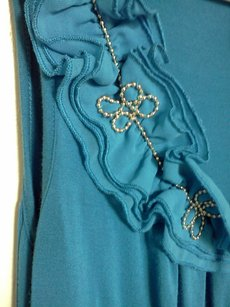 Cable & Gauge Ruffle Neckline Beading Top Blue