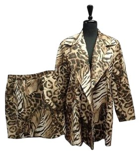 Cache Cache Brown And Beige Animal Print Skirt Suit Polyester Sma4119