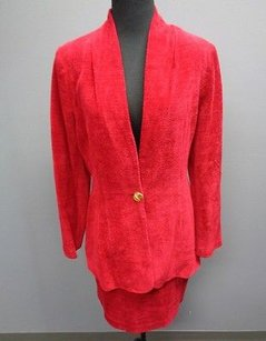 Cache Cache Crimson Red Rayon Blend Lined Two Piece Career Skirt Suit Sma2363