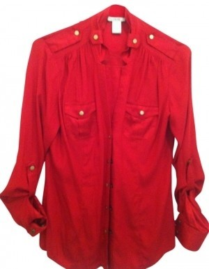 Cache Red Dressy Gold Blouse Button Down Top Size 4 S Tradesy