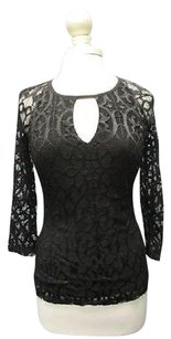 Cache Long Sleeves Lined Crew Neck Pattern Lace Casual 5514 A Top Black