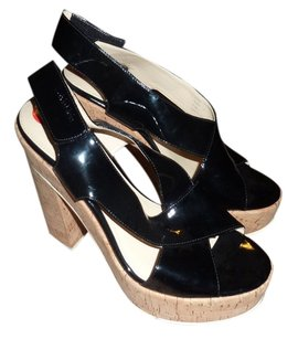 Calvin Klein Chunky Patent Leather Black Platforms
