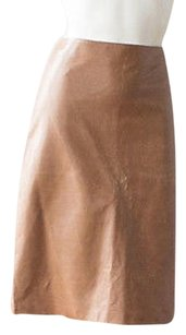 Calvin Klein Collection Leather Flat Front Fully Lined Sharp Hs1457 Skirt Brown