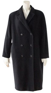 Calvin Klein Collection Wool Blend Double Breasted Knee Length Coat Black Jacket